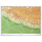 Georelief 3D Karte Nepal groß mit Aluminiumrahmen
