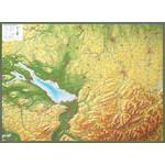 Georelief Regional-Karte Allgäu Bodensee groß mit Holzrahmen, 3D Reliefkarte