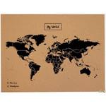Miss Wood Wereldkaart Woody Map Natural Cork Political XL black