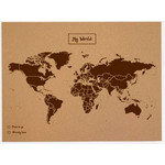 Mappemonde Miss Wood Woody Map Natural political cork world map L brown