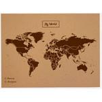Miss Wood Wereldkaart Woody Map Natural political cork world map L brown