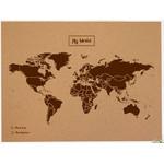 Miss Wood Wereldkaart Woody Map Natural Political Cork World Map XL brown