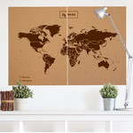 Miss Wood Mapa mundial Woody Map Natural political cork world map XXL brown