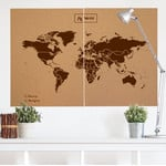 Miss Wood Wereldkaart Woody Map Natural Cork XXL brown