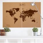 Miss Wood Wereldkaart Woody Map Natural political cork world map XXL brown