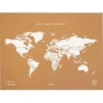 Miss Wood Mapamundi Woody Map Natural mapa político de corcho natural L blanco