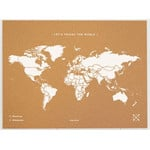 Mappemonde Miss Wood Woody Map Natural Cork XL white
