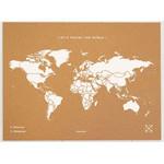 Miss Wood Wereldkaart Woody Map Natural Political World Map XL white