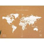 Miss Wood Wereldkaart Woody Map Natural Political Cork World Map XXL white