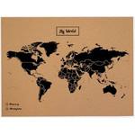 Mapa świata Woody Map Natural Weltkarte Kork L schwarz