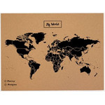 Mappemonde Woody Map Natural Weltkarte Kork L schwarz