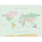 Mappemonde Miss Wood Woody Map Watercolor Retro L