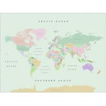 Miss Wood Mapa świata Woody Map Watercolor Retro L