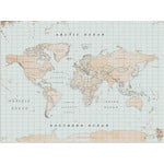 Miss Wood Mappa del Mondo Woody Map Watercolor Vintage L
