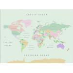 Miss Wood Mapa mundial Woody Map Watercolor Retro XL