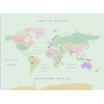 Miss Wood Wereldkaart Woody Map Watercolor Retro XL