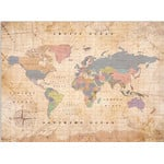 Miss Wood Mappa del Mondo Woody Map Watercolor Old School XL