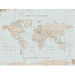 Miss Wood Mapa mundial Woody Map Watercolor Vintage XL