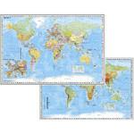 Stiefel Duo Schreibunterlage Weltkarte mit Ausschnitt Zentraleuropa/ Weltkarte physisch
