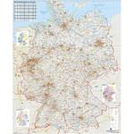 Stiefel Landkarte Verkehrswegekarte Deutschland mit Metallleisten