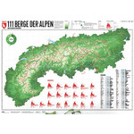 Marmota Maps Harta regionala Map of the Alps with 111 Mountains and 20 Mountain trails