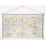 Mappemonde Miss Wood Woody Cotton Map Oceans