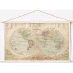 Mappemonde Miss Wood Woody Cotton Map Rivers and Mountains