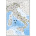 National Geographic Landkarte Italien Pinnwand gerahmt (silber)