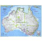 National Geographic Carte de continent Australie, politiquement