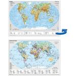Stiefel Landkarte Schreibunterlage Weltkarte politisch/physisch