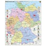 Stiefel Landkarte Deutschland politisch mit Wappen und Metallleisten