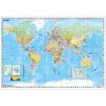 Stiefel Weltkarte politisch mit Flaggenrand (95x62)