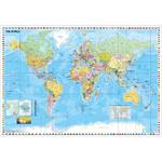 Stiefel Wereldkaart politisch mit Flaggenrand (137x89)