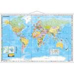 Stiefel Weltkarte politisch mit Flaggenrand (137x89)