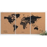 Miss Wood Weltkarte Puzzle Map M - Black