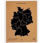 Carte géographique Miss Wood Woody Map Countries Deutschland Cork L black