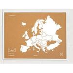 Miss Wood Mapa kontynentów Woody Map Europa weiß 90x60cm gerahmt