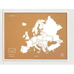 Miss Wood Mappa Continentale Woody Map Europa weiß 90x60cm gerahmt