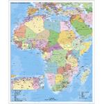 Stiefel Kontinent-Karte Afrika politisch mit PLZ auf Platte zum Pinnen