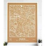 Miss Wood Mapa regionalna Woody Map Natural Paris XL White