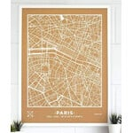 Miss Wood Mappa Regionale Woody Map Natural Paris XL White