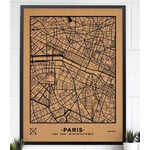 Miss Wood Mappa Regionale Woody Map Natural Paris XL Black