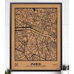 Miss Wood Regional-Karte Woody Map Natural Paris XL Black
