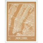 Miss Wood Regional-Karte Woody Map Natural New York L White