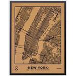 Miss Wood Mapa regionalna Woody Map Natural New York L Black