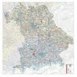 Kastanea Regional-Karte Postleitzahlenkarte Bayern (110 x 112 cm)