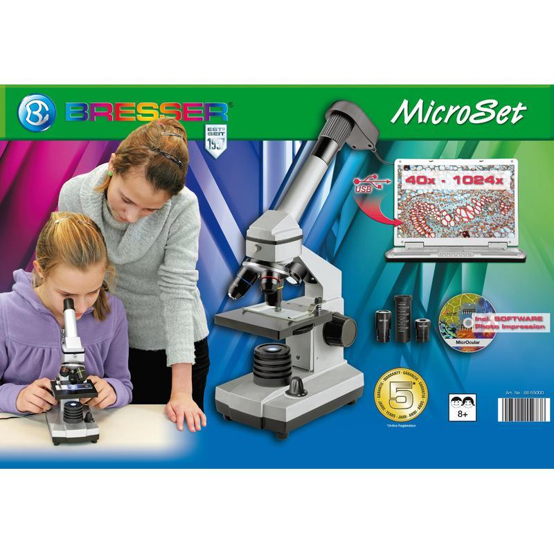 Bresser Junior Biolux CEA Mikroskop-Set, USB, Koffer, 40x -1024x
