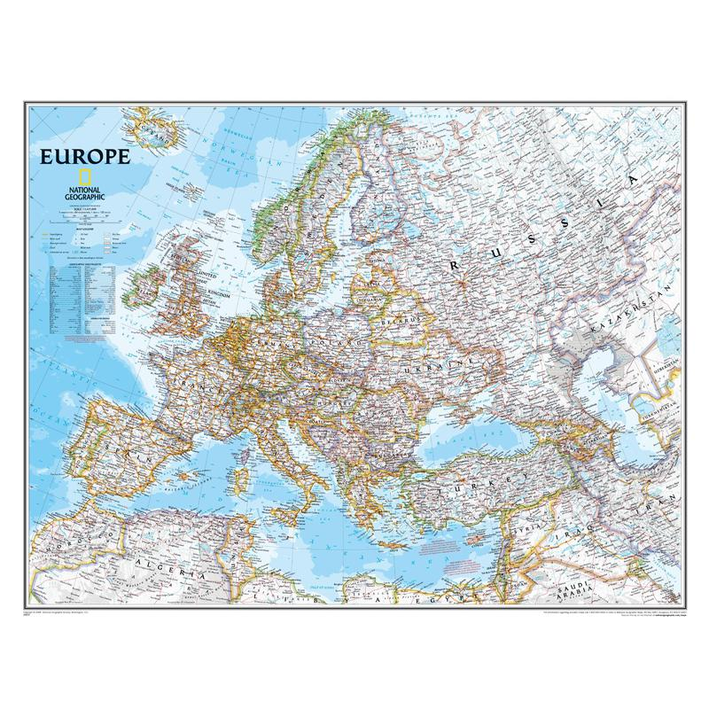 national geographic continent map europe political laminated