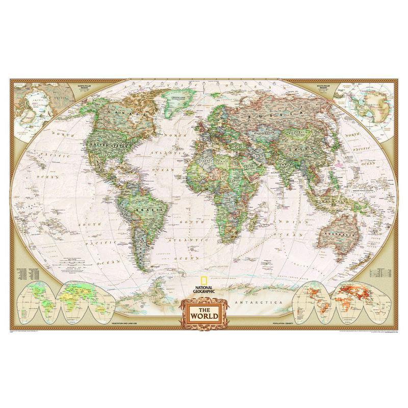 National Geographic Mapa mundial antigo e poltico tamanho gigante