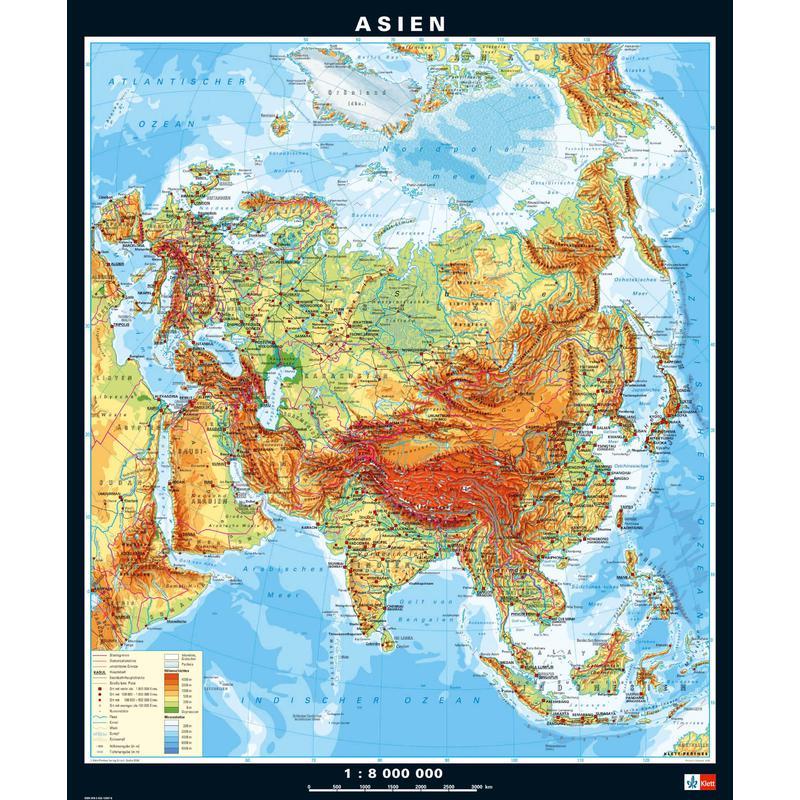 Politische Karte Asien.Klett Perthes Verlag Kontinent Karte Asien Physisch Politisch